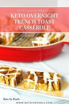 Overnight French toast that's only 2 carbs per serving! This recipe uses real cinnamon bread and sugar free cream cheese glaze! Low Carb Appetizers, Low Carb Desserts, Low Carb Recipes, Banting Recipes, Healthy Recipes, Healthy Snacks, Veggie Snacks, Keto Snacks, Eating Healthy