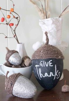 easy and easier: acorn chalk centerpiece