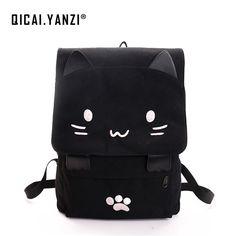 dafaca7cfc3a QICAIYANZI Cute Cat Canvas Backpacks Cartoon Embroidery Bagpack For Teenage  Girls School Bag Casual Black Rucksack