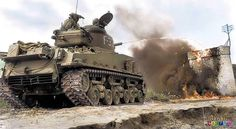 """M4A3R3 flame thrower tank based on the tank """"Sherman"""" in Korea. Coloring b/W photos."""