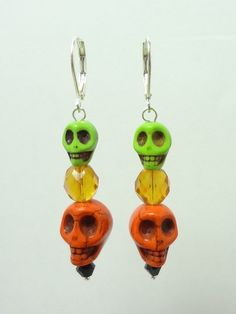 Halloween Earrings with Skulls Done in Orange and Lime Green Magnasite and Czech Glass Beads