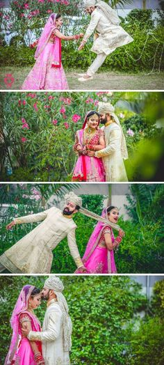 Candid Couple Shot - Bride in a Pink Sequinned Lehenga and Groom in a White Suit. Couple Wedding Dress, Wedding Couple Photos, Pre Wedding Photoshoot, Wedding Couples, Wedding Shoot, Couple Shoot, Wedding Pictures, Indian Wedding Couple Photography, Couple Photography Poses