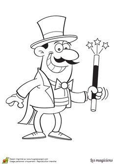 Coloriage d'un magicien tout joyeux avec sa baguette magique