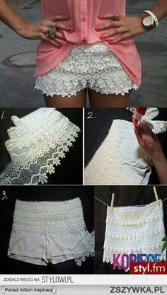 DIY Lace Shorts so cute!