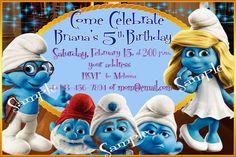 Smurfs+birthday+invitation+Printable+by+SeviliaInvitations+on+Etsy,+$5.90