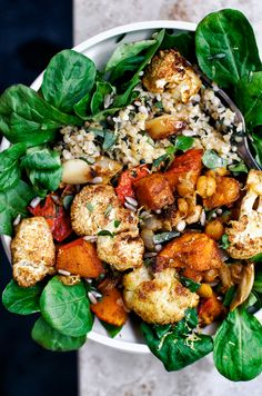 Roasted Cauliflower Grain Bowls | Occasionally Eggs
