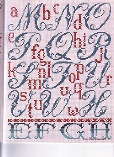 "cross stitch ""Encyclopedie des Alphabets"" M-X"