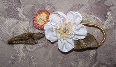 FRENCH RIBBON WORK Ribbon Rose Floral APPLIQUE - Cream, Rust & Tawny Green! #Unbranded