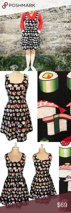 Sushi dress Calling all sushi lovers. This dress by Modcloth favorite brand Retrolicious features a bento box print print. Dress is in great condition. Dress has pockets and fitted zipper in the back.  100% cotton  Made in USA Modcloth Dresses