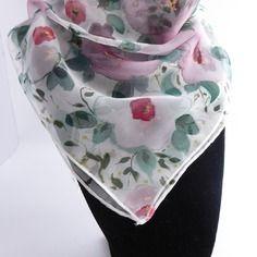 5bf6edf350c5 Nouveauté foulard gavroche en mousseline de soie peint main fleuri