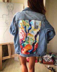 Пиджаки, жакеты ручной работы. Ярмарка Мастеров - ручная работа. Купить Джинсовая куртка с принтом. Handmade. Джинсовка на заказ