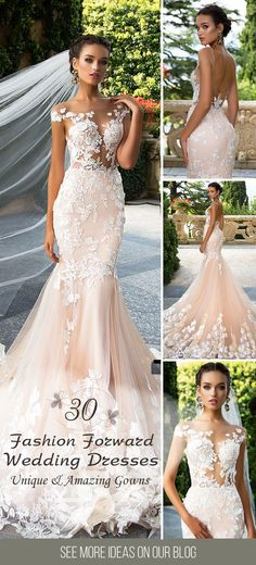 30 Totally Unique Fashion Forward Wedding Dresses ❤ Take a look at the fashion forward wedding dresses a variety of fabrics, different styles and forms. See more: http://www.weddingforward.com/fashion-forward-wedding-dresses/ #wedding #dresses #fashion