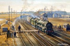 Winwick Junction on the West Coast main line in 1960. Royal Scot 46166 'London Rifle Brigade' heads an up express.