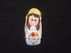 Virgen de la Rosa Mística en Masa Flexible. Polymer Clay