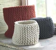 Hand Knitted Rope Baskets - love the texture of knits in bulky yarn.