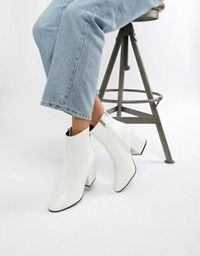white patent block heeled ankle boots