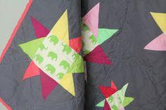 Modern Baby Quilt, Toddler Quilt, Crib Quilt, Wonky Star Quilt, Circus Peanuts Quilt