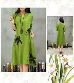2016-Green-Dress-Women-Loose-Ladies-Plus-Size-Printing-Cotton-Linen-Long-Sleeve