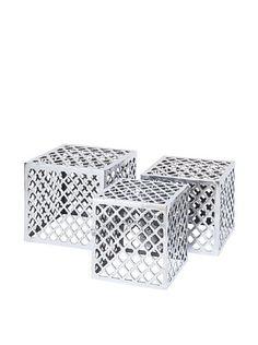 UMA Set of 3 Aluminum Stools, Silver