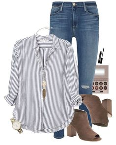 ~boss lady~ A fashion look from March 2017 by simplysarahkate featuring Xirena, Frame, Apt. Kate Spade, Kendra Scott, Laura Geller and Lord & Berry Fall Winter Outfits, Autumn Winter Fashion, Summer Outfits, Casual Outfits, Casual Sunday Outfit, Work Casual, Casual Chic, Looks Camisa Jeans, Denham Jeans