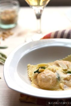 Roasted Pumpkin Ravioli with brown butter, sage, and pine nuts More