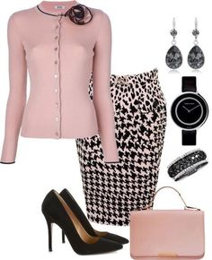 Houndstooth womans business outfits work attire стиль и мода Classy Outfits, Chic Outfits, Fashion Outfits, Womens Fashion, Fashion Trends, Fashion Ideas, Summer Outfits, Formal Outfits, Classy Dress