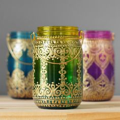 Ombre Home Decor- Mason Jar Boho Chic Lantern- Hand Painted Glass from Emerald Green to Canary Yellow, Golden Henna Style Design