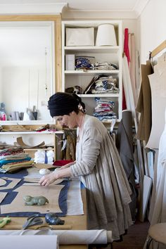 Trish in her production studio for Madame Bukeshla.  'This is where patterns are conceived, cut and work on' she says.  Photo - Angelita Bonetti