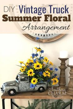 DIY Vintage Truck Summer Floral Arrangement - This month in our Wreath Making of the Month Club, learn to make a vintage truck summer floral arran - Diy Vintage, Vintage Home Decor, Rustic Decor, Diy Home Decor, Vintage Wreath, Room Decor, Tv Decor, Vintage Signs, Red Truck Decor