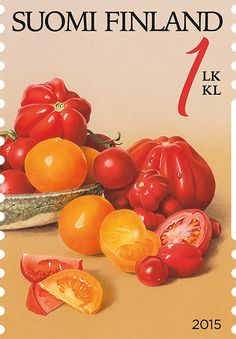 """""""Puutarhan antimia, tomatoes"""" (gifts from garden) stamp 2015 / Ossi Hiekkala… Tomato Garden, Garden Tomatoes, Old Stamps, Letter Writing, Stamp Collecting, Postage Stamps, Finland, Flora, Lettering"""