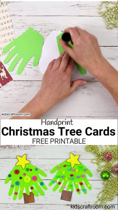 Make cute Handprint Christmas Tree Cards. A fantastic Christmas craft to share with friends and family. This Christmas handprint craft makes a great festive keepsake. (Free Printable Christmas Card Template.) #kidscraftroom #kidscrafts #christmascrafts #christmascards #printables #printablecrafts #freeprintables #christmastree #toddlercrafts #handprintcrafts Christmas Crafts For Toddlers, Christmas Activities, Xmas Crafts, Kids Christmas Art, Christmas Decorations For Kids, Christmas Arts And Crafts, Christmas Crafts For Kindergarteners, Tree Decorations, Kindergarten Christmas Crafts