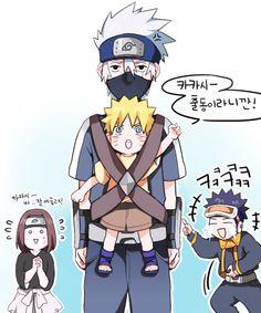 Omg Kakashi talking care of little Naruto Naruto Minato, Anime Naruto, Naruto Comic, Kakashi Hatake, Team Minato, Naruto Teams, Naruto Cute, Naruto Shippuden Anime, Sasunaru
