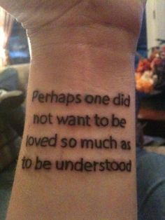 """From """"Contrariwise: Literary Tattoos,"""" comes """"Understood,"""" a tattoo belonging to Bookman and a quotation from George Orwell's """"1984."""""""