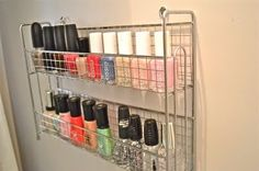 If you have a junk drawer full of nail polish & other odds & ends. Here is a great organization tip  for all of your favorite polishes… the spice rack is from World Market