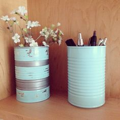 Spray painted cans #recycle #upcycle