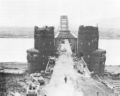 Ludendorff Railroad Bridge at Remagen, Germany, March 1945. Seized by the US First Army 7 March 1945, surprising German forces and allowing the first Allied troops to cross the Rhine. (US Army Center of Military History)