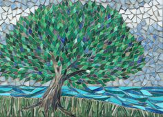 "Somewhere Only We Know - Stained Glass Mosaic Tree - Original Design - 20"" x 27.5"""