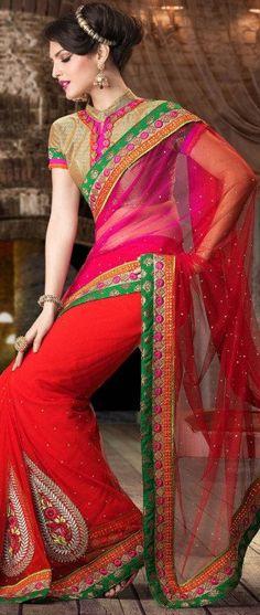 Dark Pink et Saree Red Net Avec Blouse