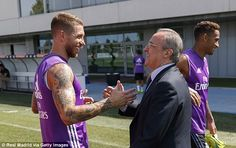 Perez was also greeted by Real captain Sergio Ramos at the end of the session