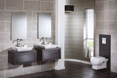 The masculine feel in this en-suite has been softened with the addition of gently tapered, gleaming white quantum square elegant deck mounted basins and large reflective mirrors Grey Bathroom Furniture, Dark Gray Bathroom, Dark Bathrooms, Corner Bathroom Vanity, Small Bathroom, Bathroom Inspo, Modular Cabinets, Modular Furniture, Interior Design