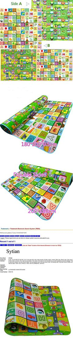 Sytian® 180*200*0.5cm Large Size & Non-slip & Waterproof & Eco-friendly & Double Sides Baby Care Play Mat / Kids Crawling Mat / Playing Pad / Game Mat for Indoor and Outdoor Use (Fruit Alphabet & Monopoly Game)