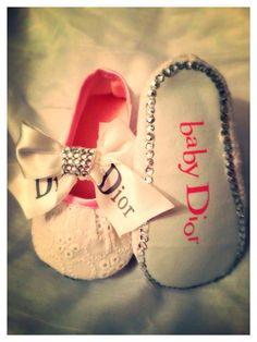 Baby Dior Style Baby Bling Shoes  by CustomCrystals2013 on Etsy