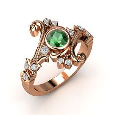 The Flamenco Ring customized in emerald, diamond and rose gold