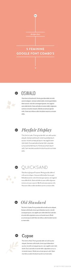 I like Oswald. // 5 feminine google font combinations for your blog design | Betty Red Design