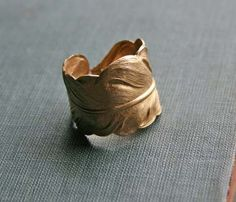 Adjustable Brass Feather Ring
