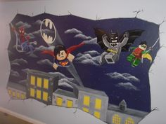 Lego marvel superhero wall mural by for Batman mural wallpaper uk