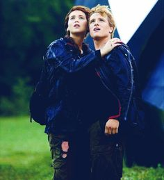 Jennifer Lawrence and Josh Hutcherson as Katniss and Peeta in The Hunger Games