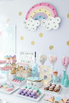 baby shower ideas for girls and boys. Baby shower decorations and baby shower decor Rainbow Birthday Party, Unicorn Birthday Parties, Birthday Party Themes, Birthday Ideas, Girl First Birthday, Baby Birthday, Baby Shower Unicornio, Pastell Party, Deco Baby Shower