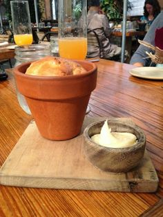 Bread baked in a planter! Love this! Brunch at Terrain > On the blog