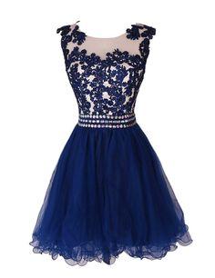 short lace homecoming dresses,navy homecoming dresses, beading homecoming…